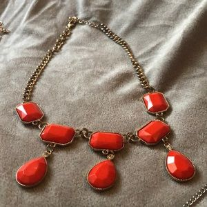 Gold and burnt orange stone statement necklace